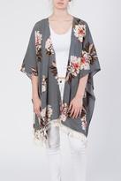 Umgee USA Gray Floral Kimono