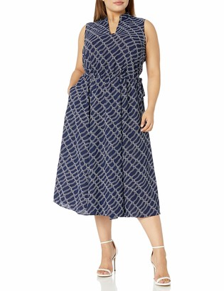 Anne Klein Women's Size Plus Cotton FIT and Flare Dress