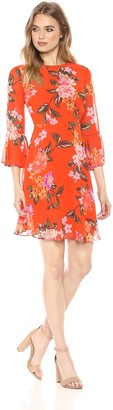 Donna Morgan Women's Long Bell Sleeve Printed Chiffon Dress