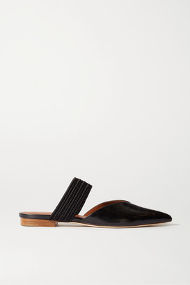 Malone Souliers Maisie Cord-trimmed Croc-effect Leather Mules - Black