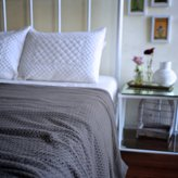kinche Aphelia, Pure Cotton Knitted Grey King Size Blanket ~ 102X92 Inches