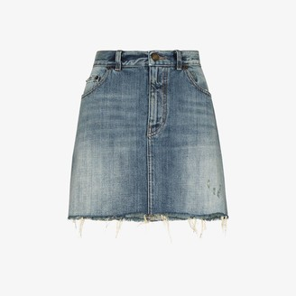 Saint Laurent Distressed Denim Skirt