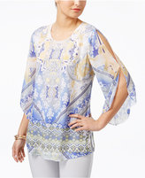JM Collection Petite Printed Split-Sleeve Tunic, Only at Macy's