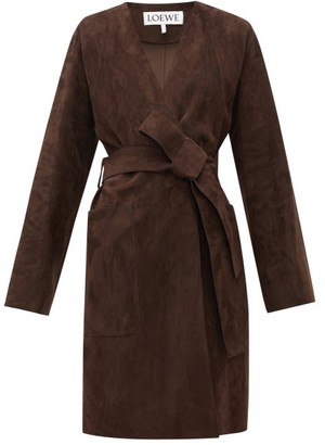 Loewe Single-breasted Wrap Suede Coat - Womens - Dark Brown