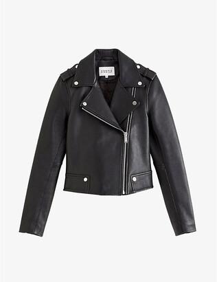 Claudie Pierlot Biker-collar leather jacket