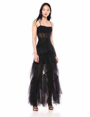 BCBGMAXAZRIA Azria Women's OLY Tiered-Ruffle Tulle Gown