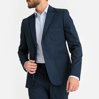 La Redoute Collections Straight Cut Suit Jacket in Cotton with Single-Breasted Buttons