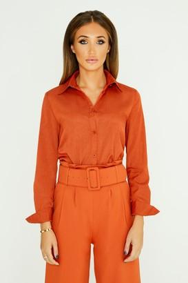 Girls On Film Studio Mouthy Classic Shirt In Burnt Orange