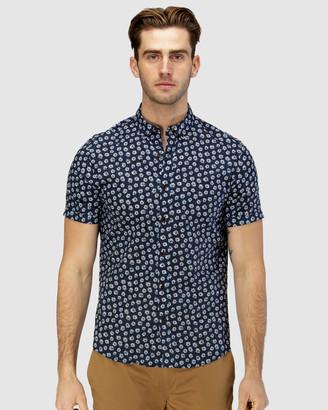 Brooksfield Daisy Print Casual Short Sleeve Shirt