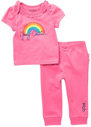 Juicy Couture Rainbow Logo Ruffled Top & Pants Set (Baby Girls 12-18M)