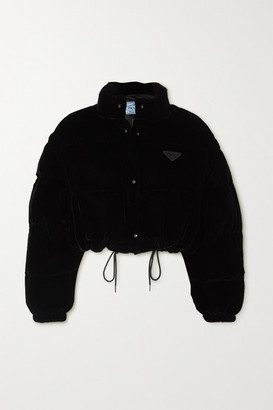 Prada Convertible Cropped Appliqued Quilted Velvet Down Jacket - Black