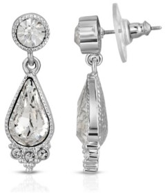 2028 Silver-Tone Teardrop Earrings Made with Swarovski Crystals