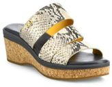 Cole Haan Allesa Grand Snake-Print Leather Cork Wedge Slides