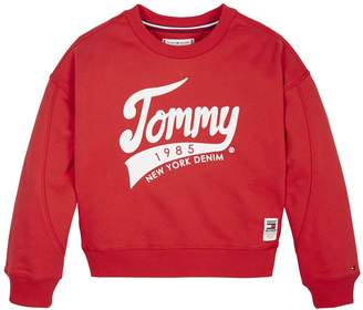 Tommy Hilfiger Girls 1985 Crew Sweat Top - Red