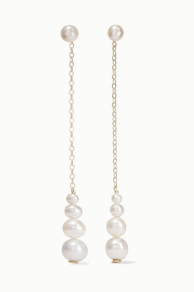 Saskia Diez Gold Pearl Earrings - White