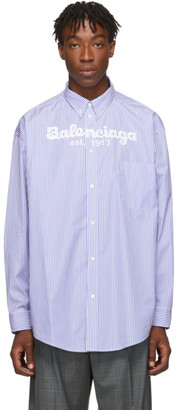 Balenciaga Blue and White Est. 1917 Shirt