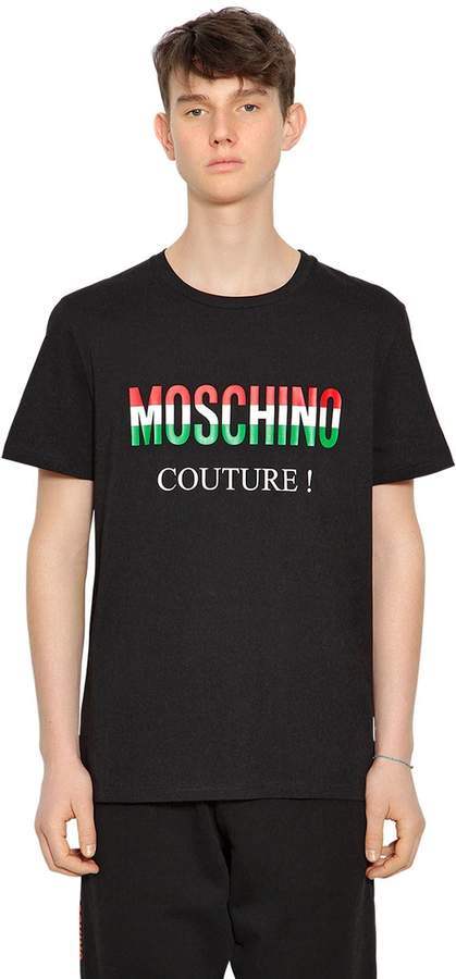 Moschino Italy Logo Printed Jersey T-Shirt