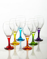 Godinger Six Rainbow Crystal Wine Glasses