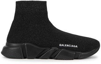 Balenciaga Speed Glittered Stretch-knit Sneakers