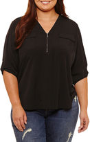 Boutique + + 3/4 Sleeve Zip Front Woven Blouse-Plus