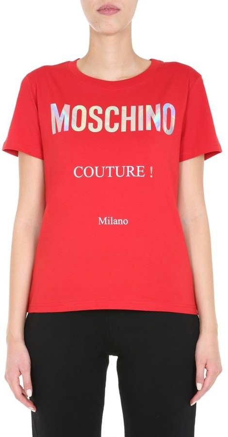 red t shirt shop the world s largest collection of fashion shopstyle holographic logo t shirt