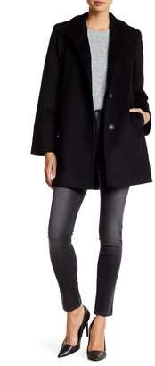 Fleurette Stand Collar Wool Blend Car Coat