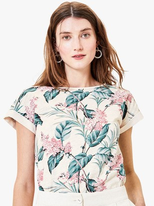 Oasis Floral Print Boat Neck T-Shirt, White/Multi