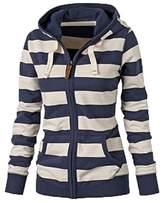 Hengzhi Women's Zebra Funnel Neck Hoodies Long Sleeve Zip Up Cute Pullover Coat