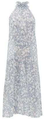 Marysia Swim Euboea Floral Broderie-anglaise Cotton Dress - Womens - Blue Print