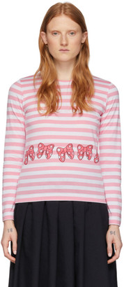 COMME DES GARÇONS GIRL Pink and White Disney Edition Stripe Ribbons T-Shirt