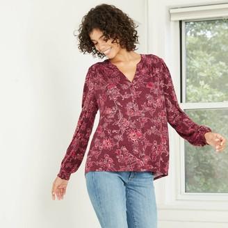 Knox Rose™ Women's Floral Print Bishop Long Sleeve Knit Button-Front Top - Knox RoseTM