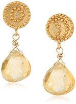 Satya Jewelry Gold Sun Moon Citrine Drop Earrings