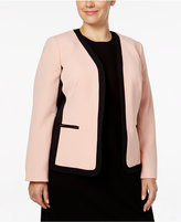 Kasper Plus Size Open-Front Colorblocked Jacket