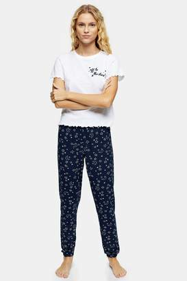 Topshop Womens Navy Stars Embroidered Pyjama Set - Navy Blue