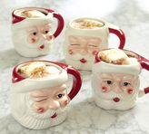 Pottery Barn Santa Figural Mug, Mixed Set of 4 - Benefiting Give a Little Hope Campaign