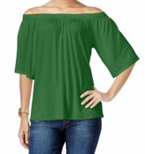 Michael Kors Green Off-Shoulder Women's Size Large L Top Blouse