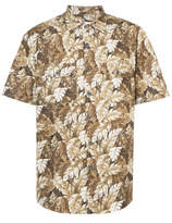 Julien David Leaf Print Short Sleeved Shirt - Brown - Size M