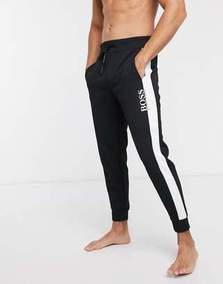 BOSS bodywear logo cuffed joggers in colour block-Black