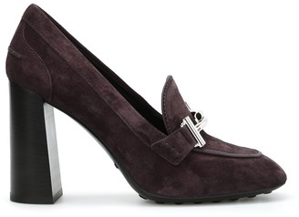 Tod's Double T Suede Chunky Heel Pumps