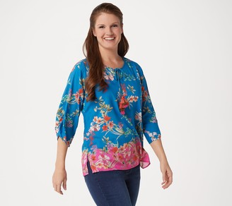 Tolani Collection Printed 3/4-Sleeve Woven Top