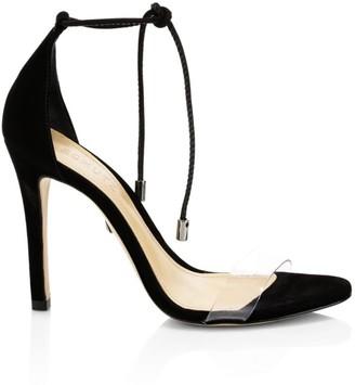 Schutz Josseana Ankle-Tie Suede Sandals