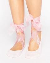 Asos Ballerina Sock With Organza Tie Detail