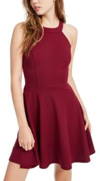 Speechless Juniors' Cutout Bow Back Fit & Flare Dress, Created for Macy's