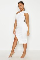 boohoo Maria One Shoulder Wrap Skirt Midi Dress