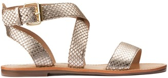 La Redoute Collections Leather Snakeskin Effect Sandals with Flat Heel