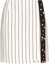 Thierry Mugler Pinstripe macramé-lace mini skirt