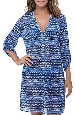 Gottex Folklore Mesh Shirt Dress Swim Cover-Up