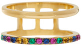 Elizabeth and James 24K Gold Plated Created Multicolored Sapphire Dylan Band Ring