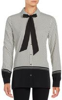 Karl Lagerfeld Long Sleeve Tie Neck Button Down