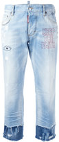 DSQUARED2 Keep the Faith embroidered cropped jeans - women - Cotton/Polyamide/Polyester - 40